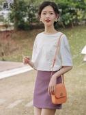慕兔紫色高腰半身裙女夏季2020新款韓版顯瘦修身a字裙子包臀短裙 提拉米蘇
