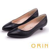 ORIN 典雅輕熟OL 簡約剪裁牛皮壓紋素面低跟鞋-黑色