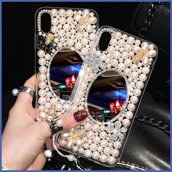 三星 S20 A71 A51 Note10+ S10+ A80 A50 A30S A70 Note10 Note9 S8 S9+ J8 珍珠花珍珠鏡 手機殼 水鑽殼 訂製