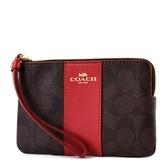 美國正品 COACH 配色防刮皮革手拿包-紅色【現貨】