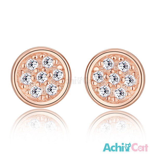 AchiCat銀耳釘925純銀耳環 耳針式 滿鑽同心圓 韓版迷你 (玫金色款單副) GS5018