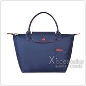 LONGCHAMP COLLECTION系列刺繡LOGO尼龍摺疊款短把手提包(小/深藍x紅)