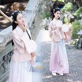 【免運】傳統漢服女裝鳳凰刺繡寬袖交領上衣襖裙雙層漸變下裙日常款洋裝 隨想曲