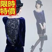 禮服-典雅金絲絨圓領修身連身裙3色65aa13[巴黎精品]