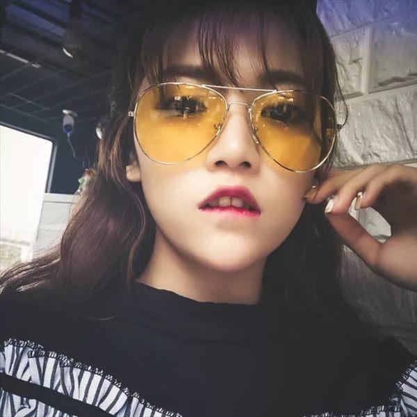 現貨-黃色夜視眼鏡復古韓版同款夜視太陽鏡彩色透明太陽眼鏡墨鏡81