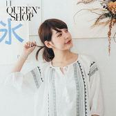 Queen Shop【01120131】民族繡花領口綁結七分袖棉麻上衣*預購*