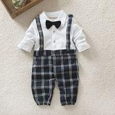 英格蘭紳士格紋吊帶褲長袖連身衣 男孩童衣 連身衣