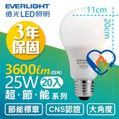 【億光 EVERLIGHT】25W 超節能 LED 燈泡 全電壓 E27 節能標章(白光20入)
