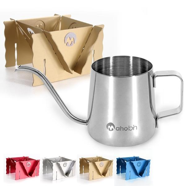 Mahobin 304不鏽鋼細嘴壺350ml+MIT台灣製專利鋁合金濾泡耳掛式兩用咖啡架/濾杯架