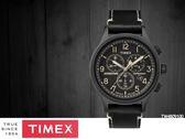 【時間道 】TIMEX天美時 經典運動風三眼計時腕錶– 黑面黑殼黑皮(TW4B09100/TXTW4B09100)免運費