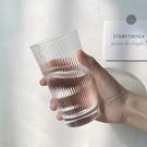 玻璃杯ins風vintage杯子咖啡杯簡約日式細條紋水杯女韓國清新可愛 快速出貨