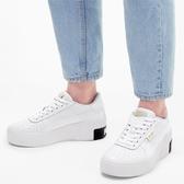 【折後$2980再送贈品】PUMA Cali Wedge 厚底 小白鞋 增高6公分 黑白 金標 休閒 373438-03