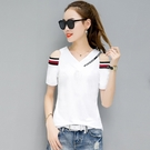 中大碼T恤短袖上衣純棉夏季時尚修身百搭V領短袖t恤女上衣潮H350-C.1號公館