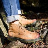 馬丁靴 2018新款春夏季馬丁靴男中低幫靴子英倫風男鞋真皮男靴潮流工裝鞋 polygirl