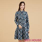 RED HOUSE-蕾赫斯-英倫風格紋荷葉洋裝(共2色)