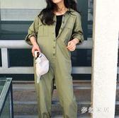 中大尺碼時髦秋季寬鬆軍綠色口袋長袖連體長褲sd3217『夢幻家居』