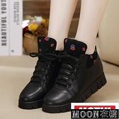 小皮鞋女 黑色小皮鞋女季潮新款正韓百搭內增高棉鞋厚 快速出貨