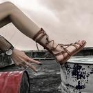 羅馬涼鞋 ins2020新款夏季百搭波西米亞平底綁帶涼靴