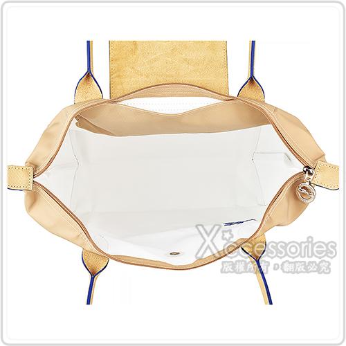 LONGCHAMP COLLECTION刺繡LOGO尼龍摺疊長把拉鍊肩背包(小/米x深藍)