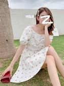 性感洋裝 氣質洋裝女神范性感中長款2021夏季新款碎花泡泡袖a字洋裝子