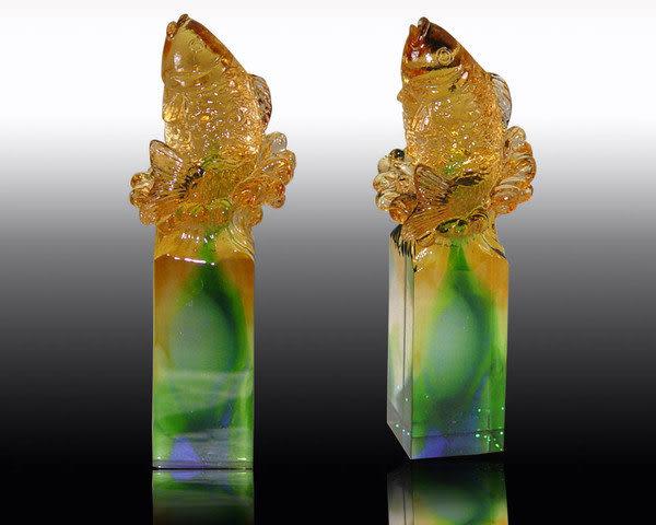 鹿港窯-居家開運水晶琉璃吉祥印章【魚躍】購物內容:一件◆附精美包裝◆免運費送到家