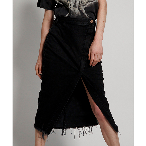 ONETEASPOON WW WORN RAVEN SOCIETY SKIRT 牛仔短裙- SOCIETY-黑(女)