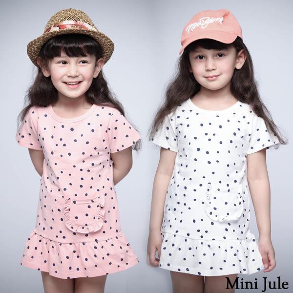 童裝 洋裝 點點單口袋傘襬短袖洋裝(共2色)