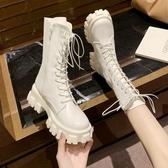 靴子馬丁靴女英倫風新款圓頭系帶中筒時尚個性中跟機車靴子網紅女短靴