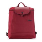 Longchamp Le Pliage刺繡LOGO折疊尼龍後背包(石榴紅)480210-C87