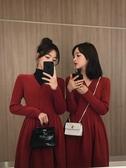 打底紅色針織連衣裙女秋冬內搭本命年冬天加厚氣質新年 花樣年華