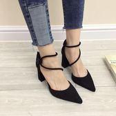 高跟鞋女 尖頭高跟鞋 歐美粗跟新款女鞋夏絨面女士鞋單鞋紅色婚鞋韓版女鞋子《小師妹》sm3348