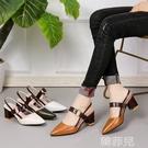 包頭涼鞋 一字扣涼鞋女春中跟新款包頭尖頭高跟鞋復古拼色粗跟羅馬單鞋 韓菲兒