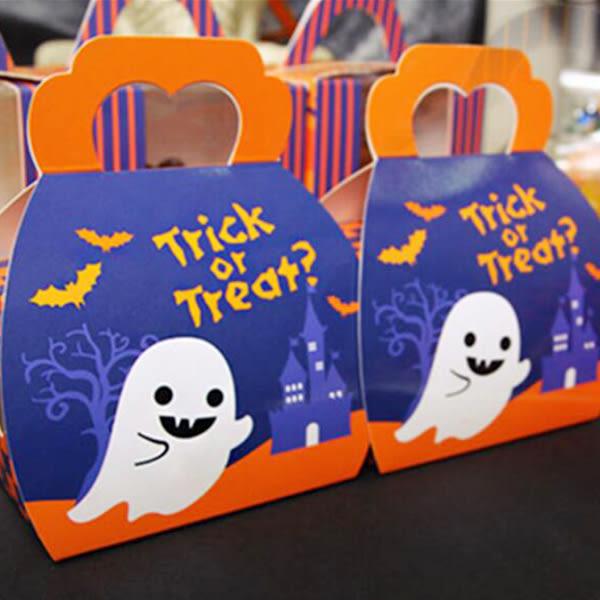 【BlueCat】深夜城堡橘藍方格南瓜人手提糖果盒 西點盒 餅乾盒