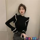 荷葉邊上衣 毛衣女內搭春季季新款心機設計感荷葉邊修身針織打底衫洋氣上衣潮 寶貝計畫