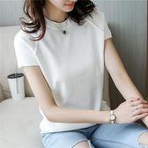 短款套頭圓領打底衫女寬鬆薄毛衣針織衫春夏裝短袖T恤女上衣潮  凱斯盾數位3C