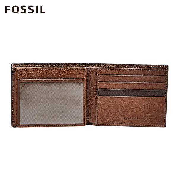 FOSSIL ENNIS 咖啡色拼接經典RFID短夾 SML1578200