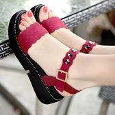 夏季真皮平底涼鞋 厚底防滑坡跟平底大碼涼鞋《小師妹》sm1049