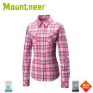 【Mountneer 山林 女 彈性抗UV格子長袖襯衫《深桃紅》】31B06/防曬長袖/薄襯衫/防曬長袖