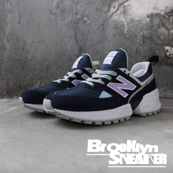 NEW BALANCE 新版574 IU代言 深藍 麂皮 紫 休閒鞋 老爹鞋 女 (布魯克林) 2019/2月 MS574GNA