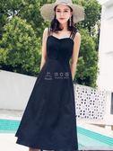 長洋裝 吊帶長裙洋裝女小黑裙收腰顯瘦氣質裙 俏女孩