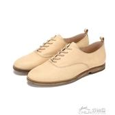 牛津鞋 Daphne/達芙妮真皮英倫風 系帶休閒牛津低跟皮鞋女1017404099