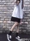 短褲2021新款寬鬆黑色短褲女夏季bf風高腰運動休閒中褲五分褲直筒港味嬡孕哺