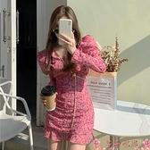 碎花洋裝碎花連身裙法式可鹽可甜春季2021新款長袖桔梗仙女粉色雪紡裙子女 芊墨 新品