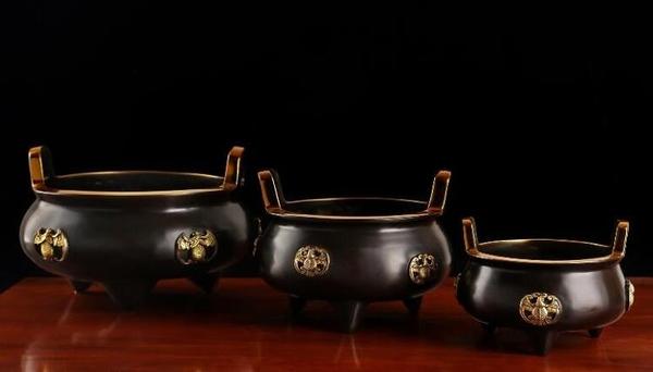 佛道教全銅仿古圓形香爐供奉神龕聚寶盆