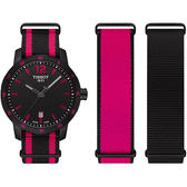 TISSOT 天梭 QUICKSTER NATO 活力運動手錶-黑x桃紅/40mm T0954103705701