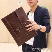 商務包  時尚韓版手包信封包文件包商務休閒手拿包公文包復古 卡卡西