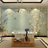 電視背景墻現代花鳥中式墻紙3D客廳電視機背景墻壁紙定制壁畫家裝墻布古典