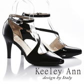 ★2018春夏★Keeley Ann漆皮質感~S型繞帶全真皮高跟鞋(黑色)