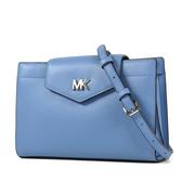 美國正品 MICHAEL KORS MOTT 銀字MK挺版磁釦斜背包-法國藍【現貨】