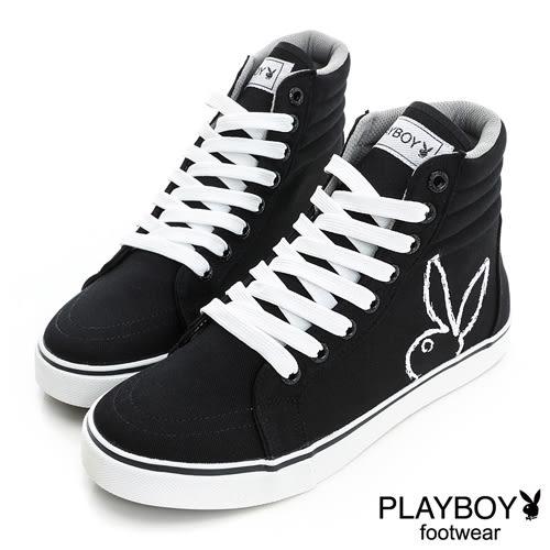 PLAYBOY 潮流世代~經典個性單色中筒休閒鞋-黑(男)